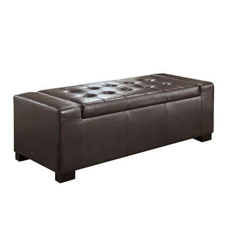 Simpli Home Laredo Large Rectangular Storage Ottoman Bench Large Square Storage Ottoman