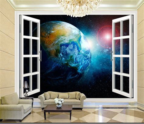 3d wallpaper bedroom living mural roll space abstract aliexpress com buy 3d stereo window planet earth