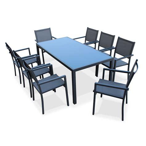 table de jardin en aluminium salon de jardin capua en aluminium table 180cm 8 fauteuils en textyl 232 ne