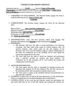 artist agreement template 12 artist contract templates free sle exle