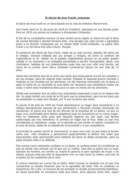 El diario de Ana Frank resumen - StuDocu Summary Library