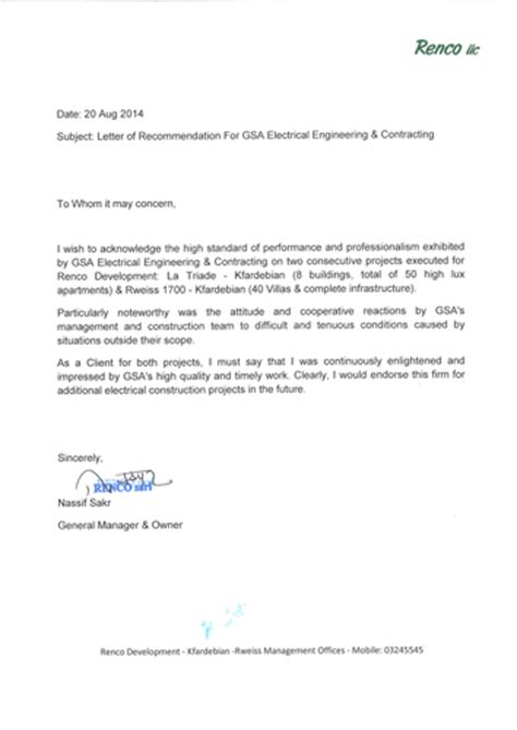 Recommendation Letter For Electrician Gsa Electrical Engineering Contracting