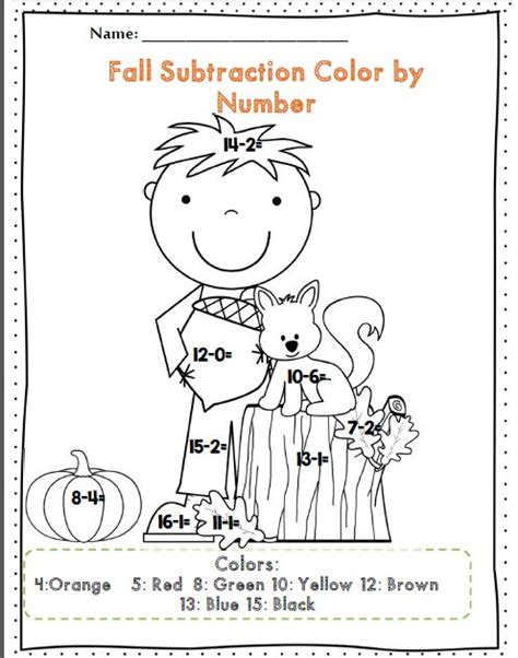 fall coloring pages color by number first grade fall math and ela activity set 50 pages