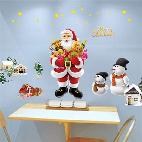 removable merry christmas santa snowman window wall