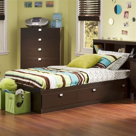 twin size bed frame for kids south shore cakao kids twin storage mates frame only chocolate finish bed ebay