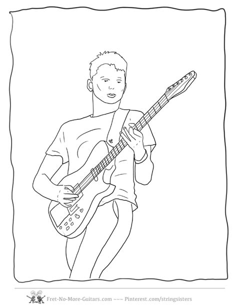 guitar player coloring page guitar coloring page coloring home