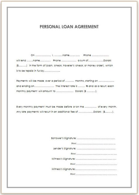 template of loan agreement personal loan agreement template for doc