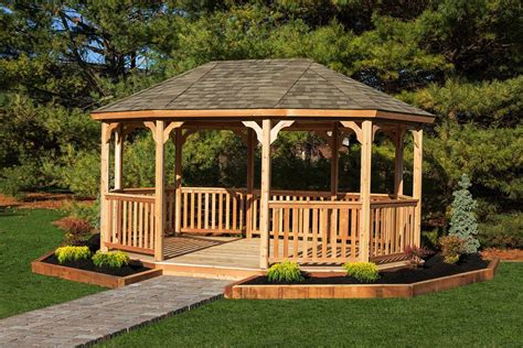 Handmade Gazebos - large wooden gazebo kits amish made by yardcraft