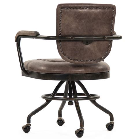 rustic industrial desk chair noa industrial rustic top grain leather adjustable rolling