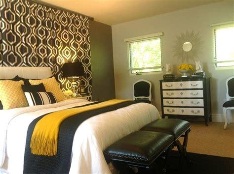 black white greygrey  gold bedroom contemporary