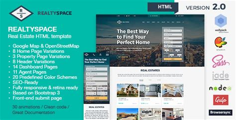 Realtyspace V2 1 2 Real Estate Html5 Template Dashboard Included One Page Real Estate Website Templates