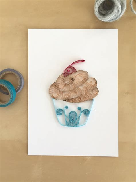 cupcake home decor quilling paper tan and blue cupcake home decor chocolate pale