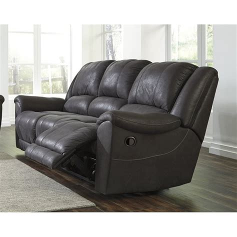 niarobi faux leather reclining sofa in gray 4060088