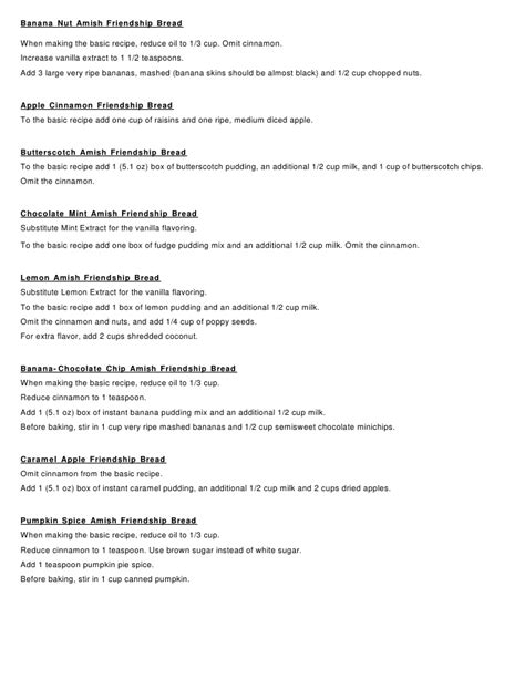 printable directions for amish friendship bread amish friendship bread