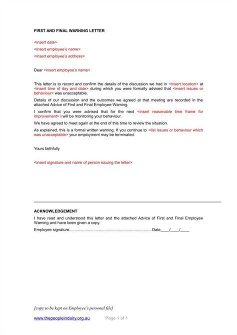 employee written warning template free elegant personnel file