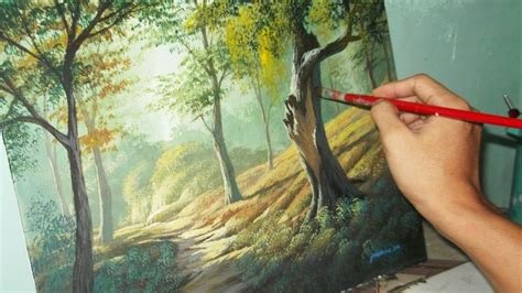 acrylic painting lesson ideas acrylic landscape painting lesson forest trees by