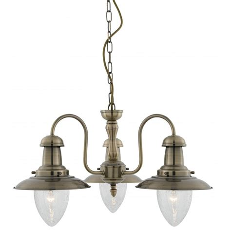 3 Light Glass Pendant Searchlight Electric Fisherman 5333 3ab Antique Brass With Clear Seeded Glass 3 Light Pendant