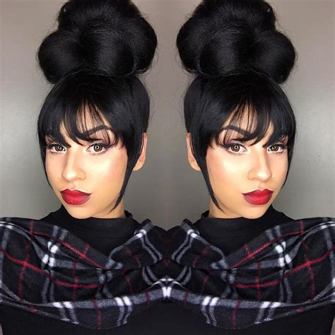 ponytail and bangs sew in tutorial for black women pinterest originallilbit hair pinterest hair style