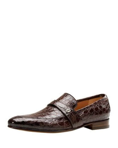Sepatu Murah Crocodile Eldorado Suede Brown faramir crocodile loafer brown by gucci at neiman s fashion loafers
