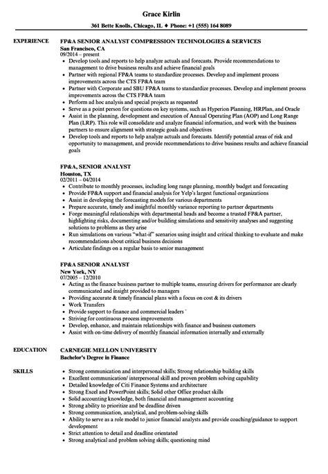 fp a senior analyst resume sles velvet