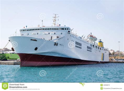 boat or large ship big and large ferry boat or cargo ship in the port stock