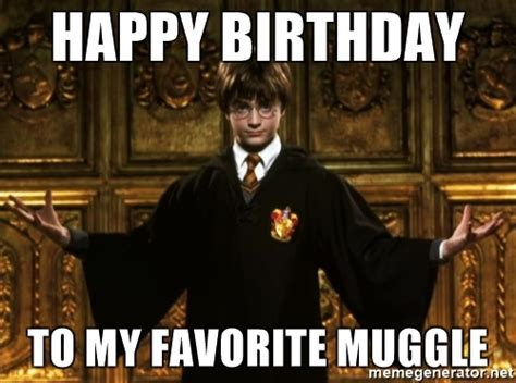 Harry Potter Happy Birthday Meme - happy birthday to my favorite muggle harry potter come