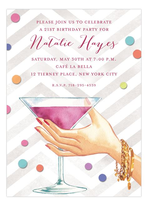 martinis cheers martini cheers invitation polka dot design