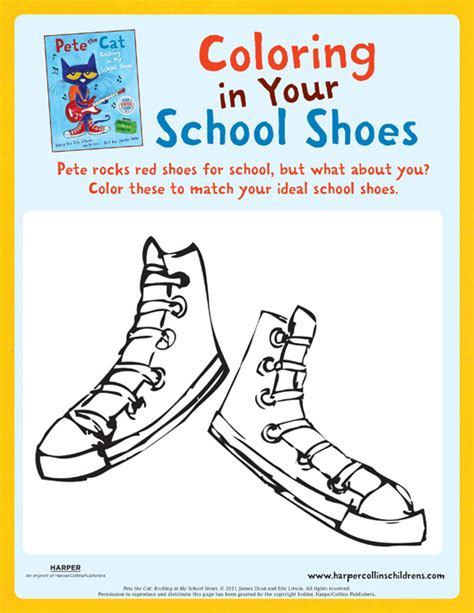 pete the cat coloring page shoes pete the cat rocking in my school shoes coloring pete