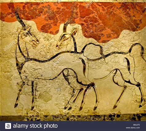 fresco animal fresco wildlife animals antelopes greece