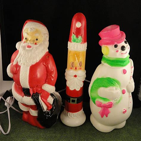 vintage large lighted blow snowman 3 vintage empire mold plastic lighted decorations santa from firesidetreasures on