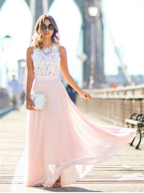 Buy Gorgeous Crew Long Pink Chiffon Prom Dress with White Lace Top Special Occasion Dresses