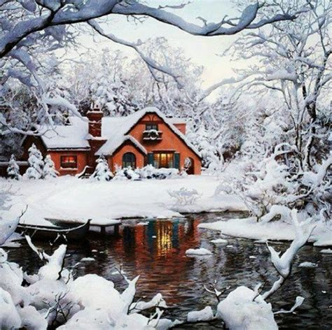 Snowy Cabins by Snowy Cabin In The Woods Winter Wonderlands