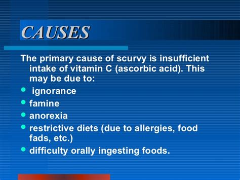 Vitamin C May Trigger Detox by Scurvy Cabigas