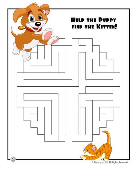 printable easy mazes for toddlers easy kids mazes easy pets maze fantasy jr mazes