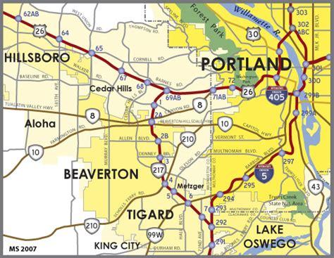 map of oregon beaverton oregon aaroads oregon 217 beaverton tigard freeway