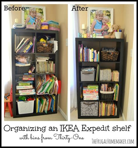 one organization organizing an ikea expedit shelf with thirty one products