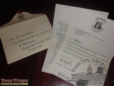 Harry Potter Acceptance Letter Replica Harry Potter And The Philosopher S Hermione Granger S 1st Year Hogwarts Letter The