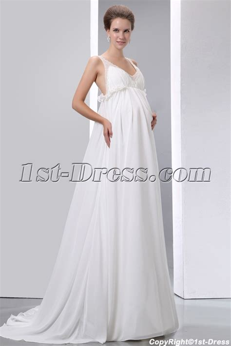 Flowing Wedding Dresses by Flowing Chiffon Low Back Maternity Wedding Dresses With