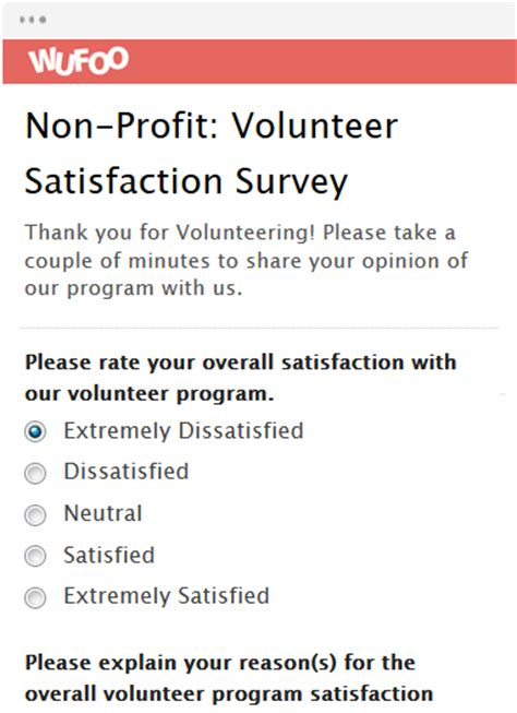 volunteer satisfaction survey template form template wufoo