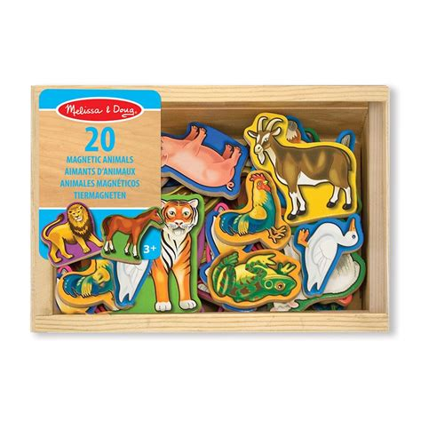 melissa doug wooden magnetic set numbers letters animals