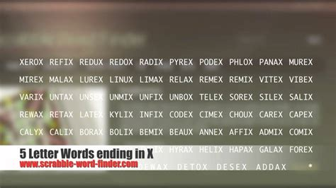5 letter words with x 5 letter words ending in x