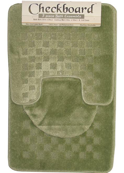 Contemporary Checkered 3 Piece Bathroom Shower Ensemble Bathroom Contour Rug Sets