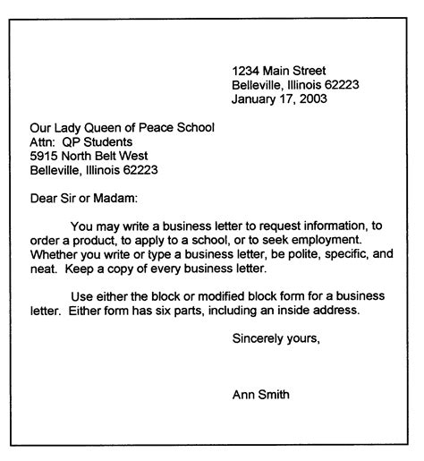 format for a business letter template personal business letter format sle business letter