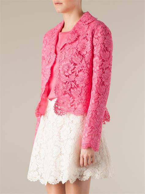Pink Flower Jacket lyst valentino floral lace jacket in pink