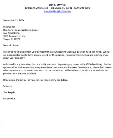 Rejection Letter Response Sle Sle Employment Rejection Letter 7 Exles In Word Pdf