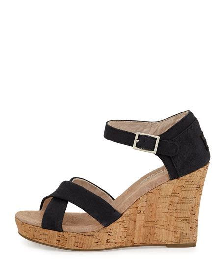 toms strappy wedge sandal toms strappy canvas wedge sandal black