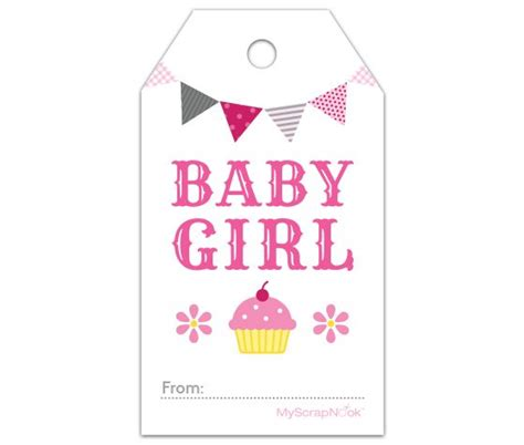 Free Printable Gift Tags Baby | download this pink cupcake baby girl gift tag and other