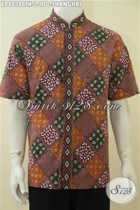 Kemeja Batik Pria Kerah Sanghai batik kemeja pria desain kerah shanghai kwalitas halus baju batik koko lengan pendek cap tulis