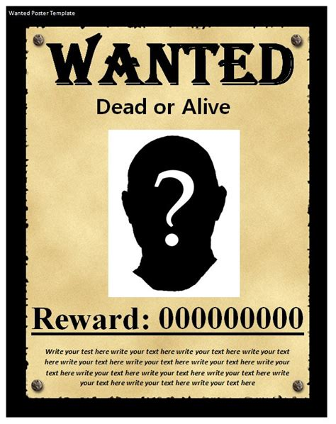 9 Wanted Poster Templates Word Excel Pdf Formats Wanted Poster Powerpoint