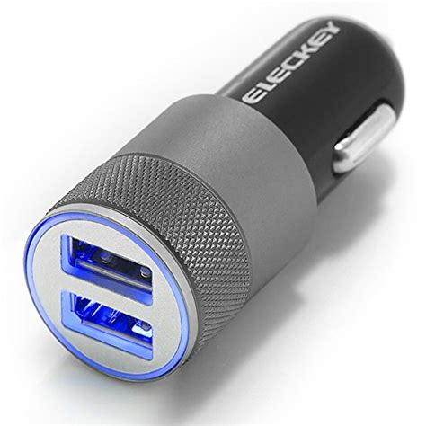 Dual Usb Car Charger 21a Black car charger eleckeytm 2 1a dual usb port car charger portable travel charger rapid car charger